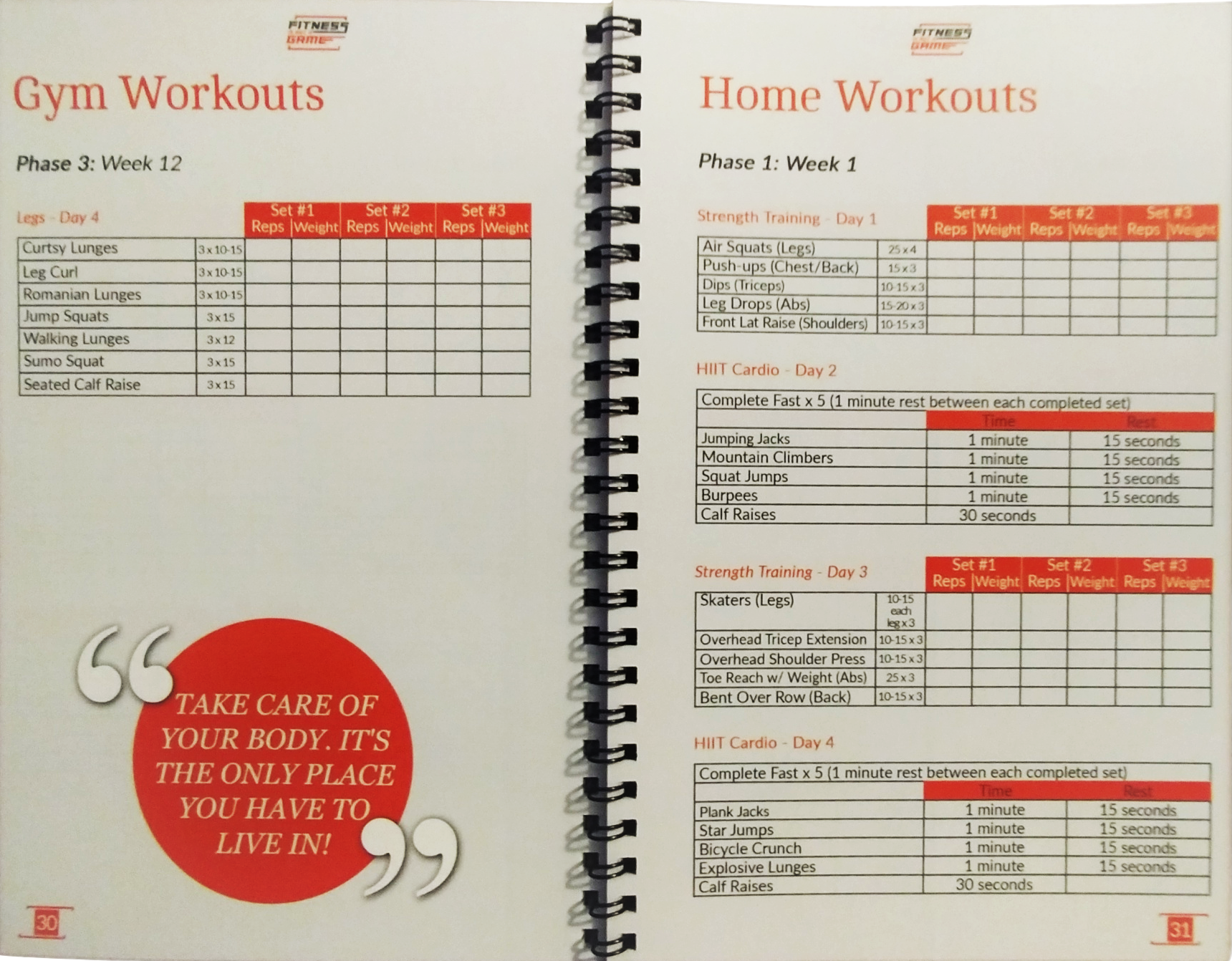 12-Week Guide to Fitness Planner